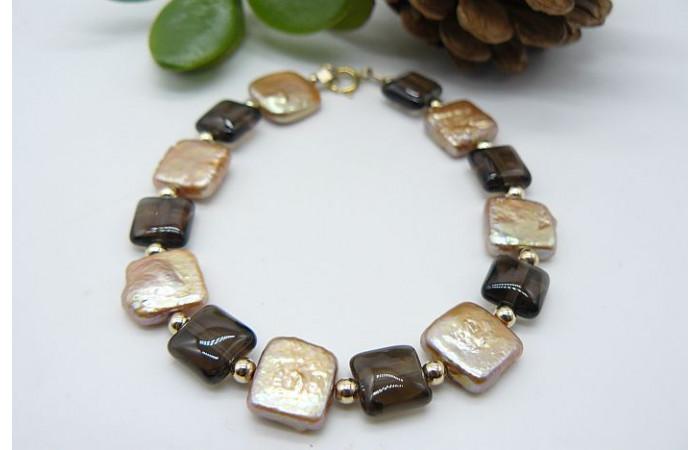 Gold Square Pearl & Smokey Quartz Bracelet