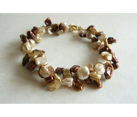 Bronze & Gold Keshi Pearl Twisted Bracelet
