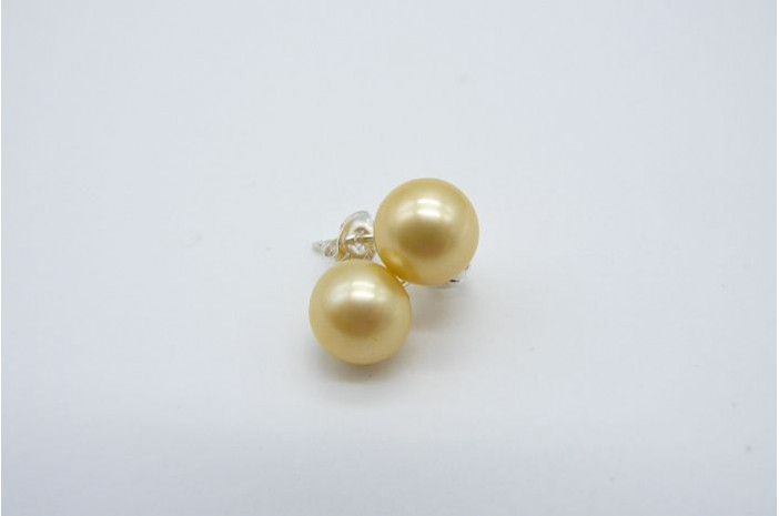 Gold-Yellow Pearl Stud Earrings - Medium