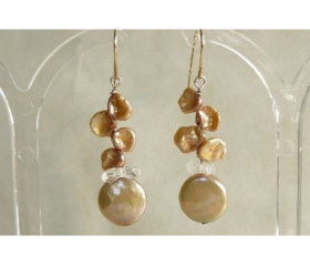 Gold Keshi & Coin Pearl Drop Earrings