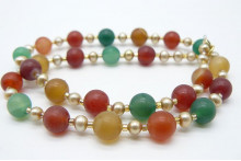 Gold Pearl & Mixed Agate Necklace