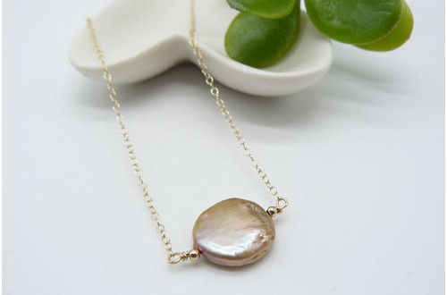 Single Champagne Coin Pearl on Gold Chain Necklace