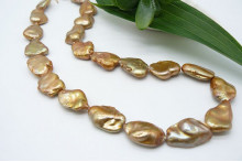 Gold Large Keshi Baroque Pearl Necklace