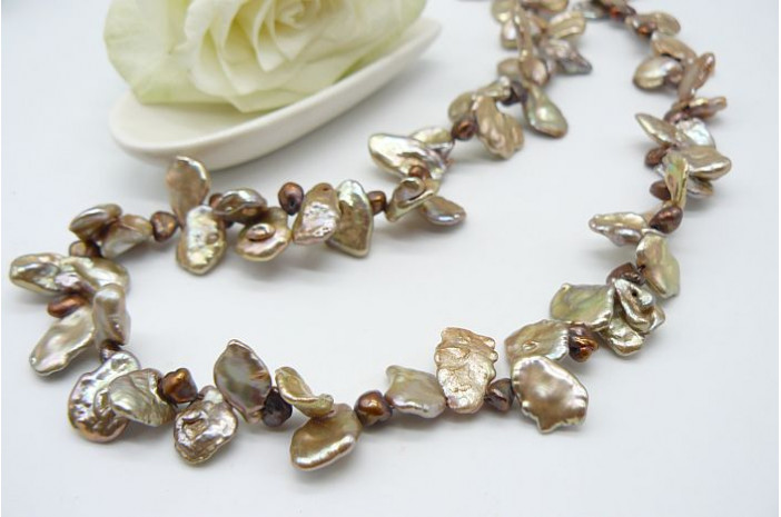 Gold & Bronze Large Keshi Pearl Necklace