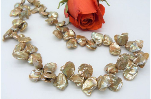 Gold Large Keshi Pearl Necklace