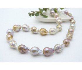 Natural Golden Baroque Pearl Necklace