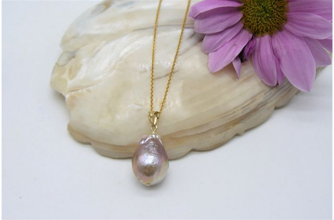 Natural Golden Baroque Pearl Pendant Necklace On Gold Chain