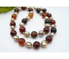 Gold Pearl & Sardonyx Necklace
