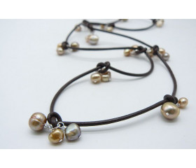 Gold Pearls on Leather Necklace