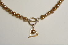 Gold Pearls and Gold Open Heart Necklace