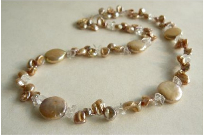 Gold Keshi & Coin Pearl Necklace