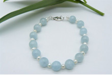 Aquamarine & Small Round Pearl Bracelet