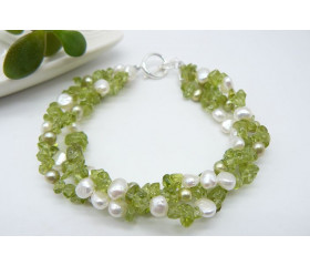 Peridot & Pearl Three Strand Twisted Bracelet