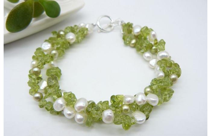 Peridot & Pearl Three Strand Twisted Bracelet