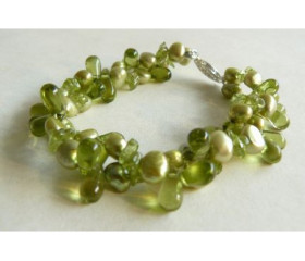 Green Pearl & Glass Multistrand Bracelet