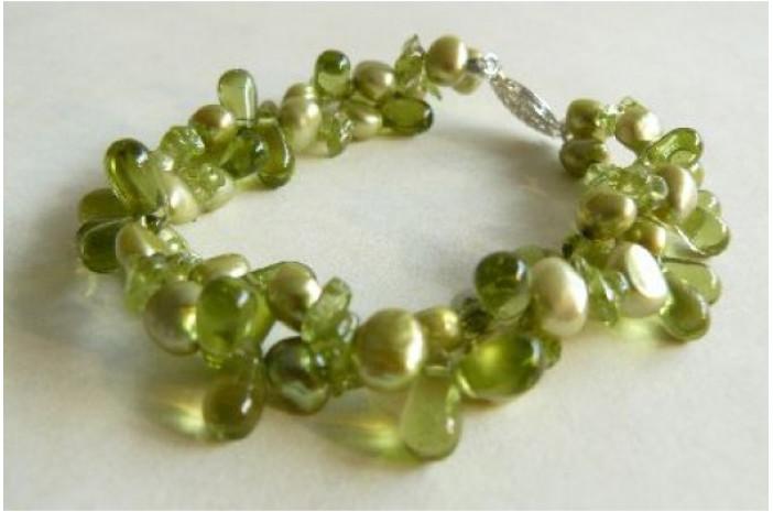 Green Pearl & Glass Multistrand Bracelet