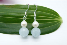 Aquamarine & Pearl Drop Earrings