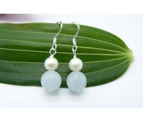 Aquamarine & Pearl Drop Earrings