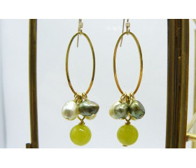 Green Jade & Green Pearl Hoop Drop Earrings