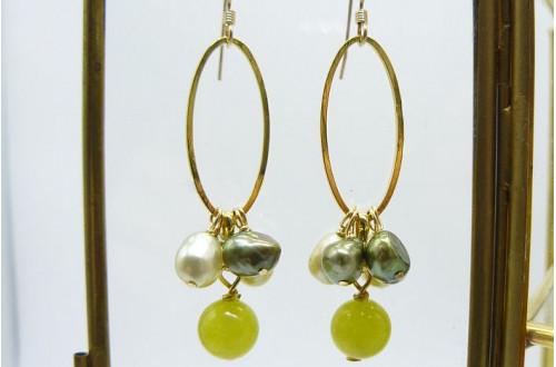 Green Jade & Green Pearl Hoop Drop Earrings