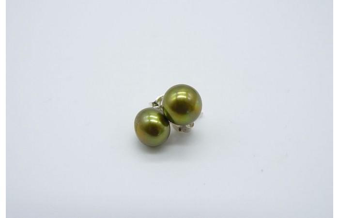 Olive Green Pearl Stud Earrings - Medium
