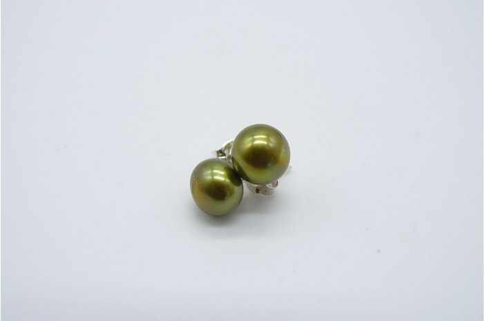 Olive Green Pearl Stud Earrings - Medium