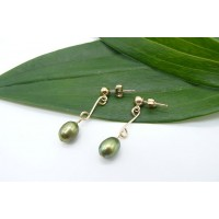 Green Pearl Double Loop Drop Earrings