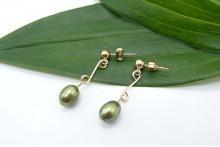 Green Pearl Double Loop Drop Earrings