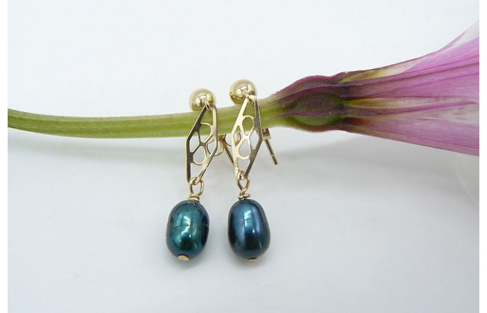 Teal Pearl & Gold Filigree Drop Earrings