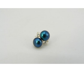 Teal Pearl Stud Earrings - Small