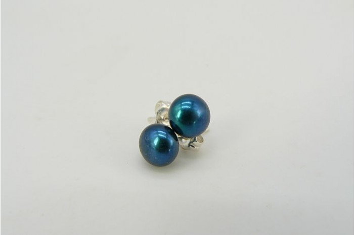 Teal Green Pearl Stud Earrings - Small