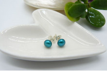 Turquoise Pearl Stud Earrings - Small