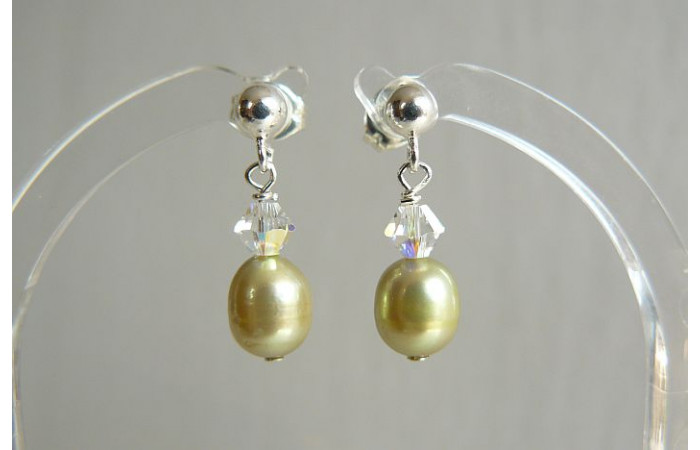 Lime Green Pearl & Crystal Stud Drop Earrings