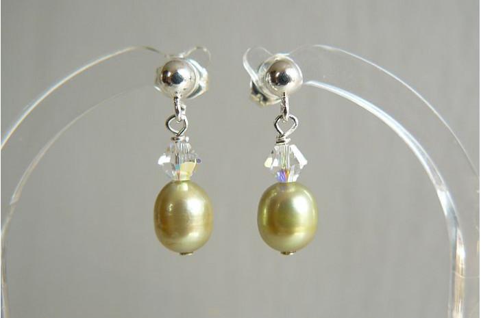 Lime Green Pearl & Crystal Stud Drop Earrings