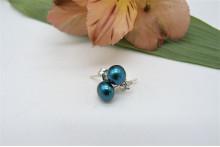 Teal Pearl Stud Earrings - Small
