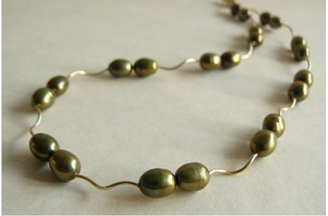 Green Pearl & Goldfil Spiral Tube Necklace