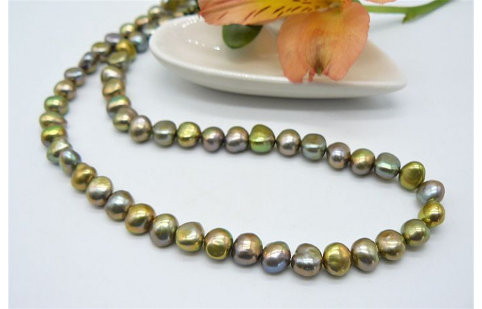 Light Olive Green Nugget Baroque Pearl Necklace