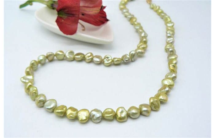 Lime Green Round Keshi Pearl Necklace
