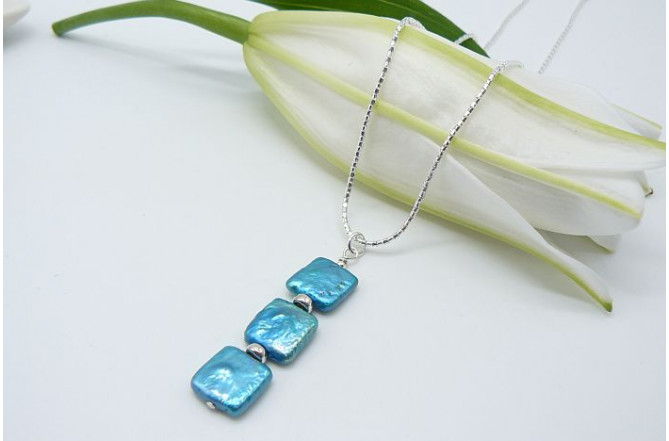 Turquoise Square Pearl Pendant Necklace
