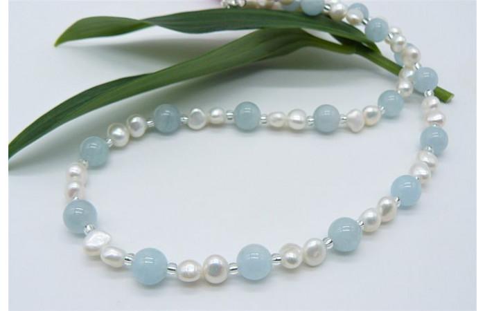 Aquamarine & Pearl Necklace