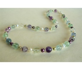 Fluorite & Mixed Pearl Necklace