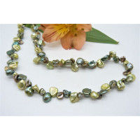 Green Mixed Keshi Pearl Necklace