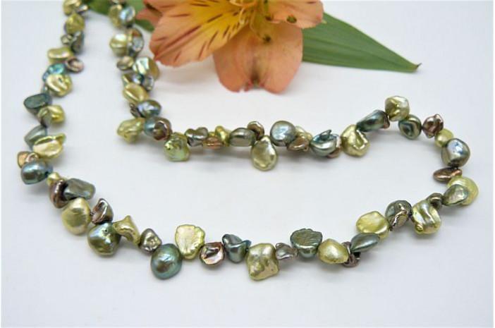 Green Mixed Keshi Pearl Necklace