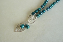 Teal Pearl & Palm Leaf Drop Necklace