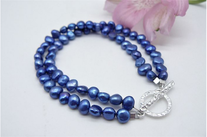 Blue Small Baroque Pearl & Hammered Toggle Clasp Two Strand Bracelet