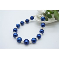 Bright Blue & White Large Round Pearl Bracelet