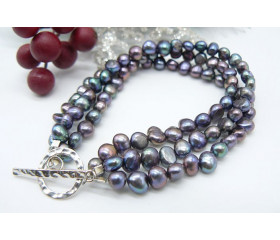 Grey Baroque Pearl & Hammered Toggle Clasp Three Strand Bracelet