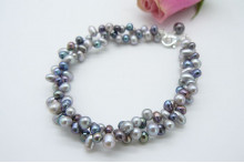 Grey & Silver Top-Drill Bracelet