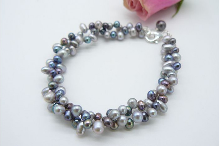 Grey & Silver Top-Drill Bracelet