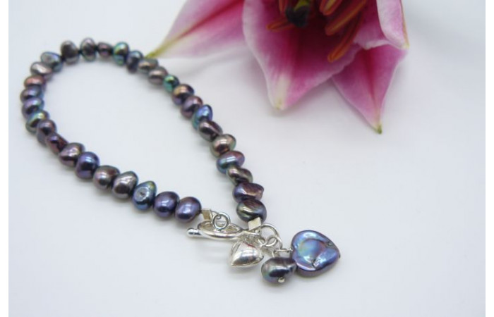 Grey Small Baroque Nugget Pearl with Pearl Heart Drop Bracelet